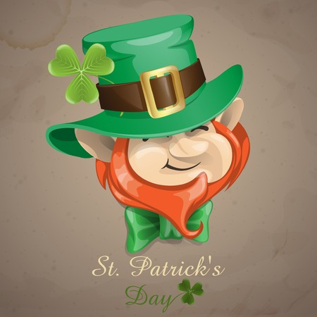 leprechaun hat: St Patricks Day Leprechaun Face.  Illustration