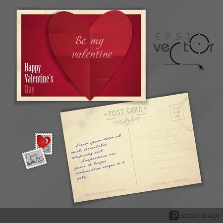 old postcard: Old Postcard Design, Template. Happy Valentines Day.  Vector Illustration.