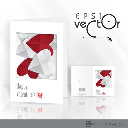 Greeting Card Design, Template. Happy Valentines Day.  Vector Illustration.  Vector