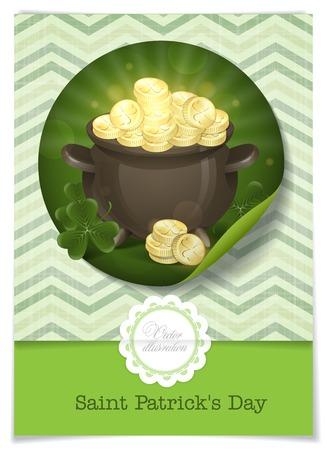 Greeting Card Design, Template. St. Patricks Day. Pot Of Gold. Vector Illustration. Vector