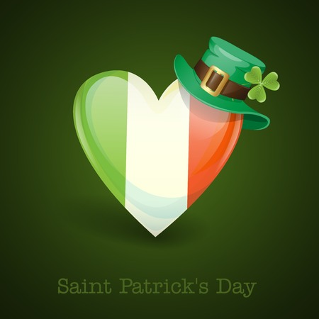 St. Patricks Day. Irish Flag In The Shape Of A Heart. Vector Illustration. Vector