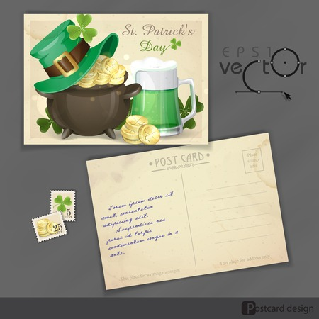 St. Patricks Day Background With Leprechaun Hat, Clover, Pot Of Gold And Green Beer. Old Postcard Design, Template. Vector Illustration.  Vector