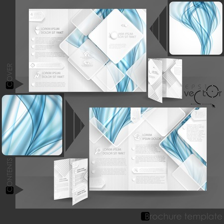 Business Brochure Template Design With White Square Elements. Vector Illustration. Eps 10.