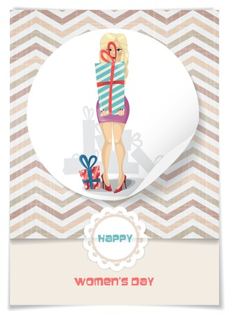 march 8: Greeting Card Design, Template. Happy Womens Day, March 8.