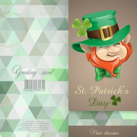 St Patrick's Day Leprechaun Face. Greeting Card Design, Template Vector