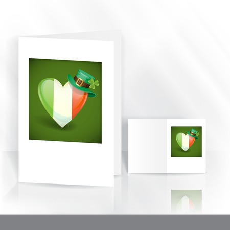 Greeting Card Design, Template. St. Patricks Day. Irish Flag In The Shape Of A Heart. Stock Photo