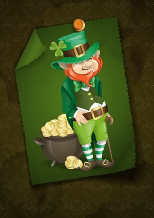 Greeting Card Design, Template. St. Patricks Day. Leprechaun With Pot Of Gold. photo