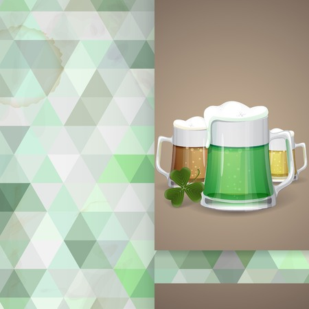Mug Of Green Beer For St Patricks Day. Greeting Card Design, Template. photo
