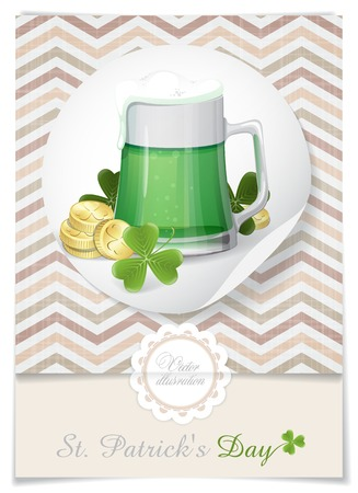 Mug Of Green Beer For St Patricks Day. Greeting Card Design, Template. Vector Illustration. Eps 10. Vector
