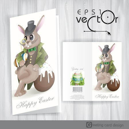Greeting Card Design, Template. Easter Bunny With Chocolate Egg. Vector Illustration. Eps 10. Vector