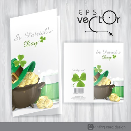 St. Patricks Day Background With Leprechaun Hat, Clover, Pot Of Gold And Green Beer. Greeting Card Design, Template. Vector Illustration. Eps 10.