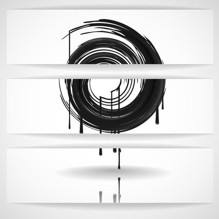 Black Paint Splashes Circle. photo