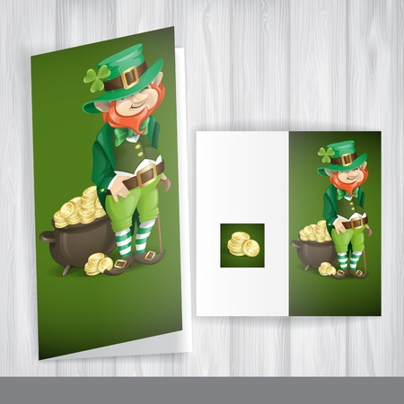 Greeting Card Design, Template. St. Patricks Day. Leprechaun With Pot Of Gold.