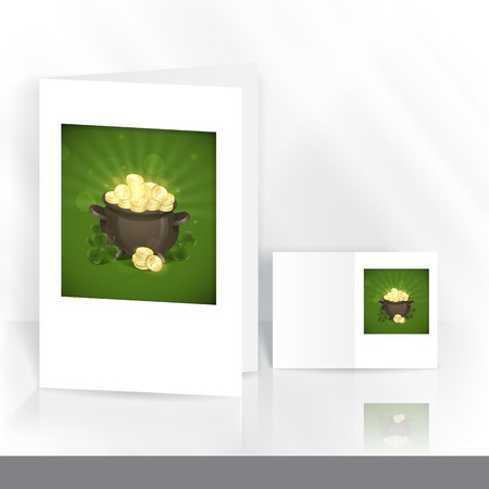 Greeting Card Design, Template. St. Patricks Day. Pot Of Gold. photo
