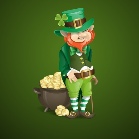 St. Patricks Day. Leprechaun With Pot Of Gold. photo