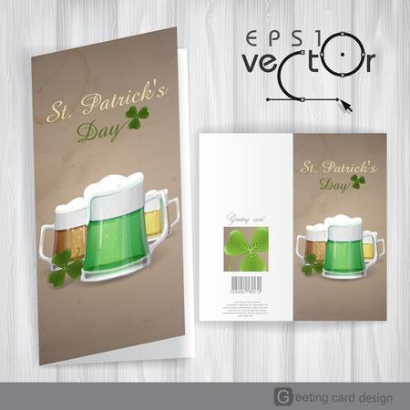 Mug Of Green Beer For St Patricks Day. Greeting Card Design, Template. Vector Illustration. Eps 10. Vector