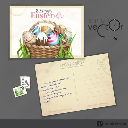 old postcard: Old Postcard Design, Template. Easter Background With A Basket Full Easter Eggs. Vector Illustration. Eps 10. Illustration