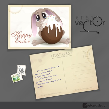 Old Postcard Design, Template. Easter Bunny With Chocolate Egg. Vector Illustration. Eps 10. Vector