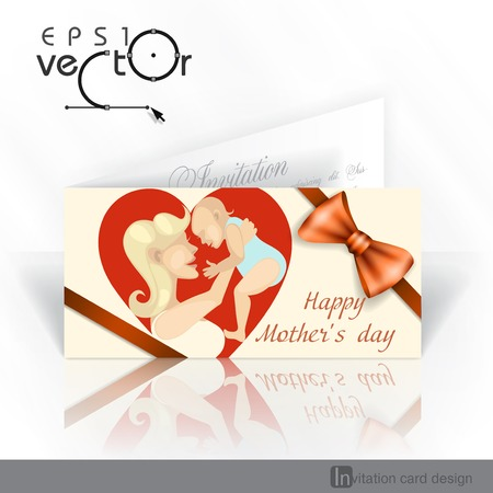 baby open present: Invitation Card Design, Template. Happy Mothers Day. Vector Illustration. Eps 10.