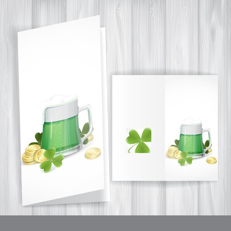 Mug Of Green Beer For St Patricks Day. Greeting Card Design, Template. Stock Photo