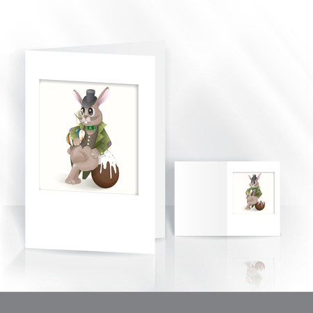 Greeting Card Design, Template. Easter Bunny With Chocolate Egg. photo