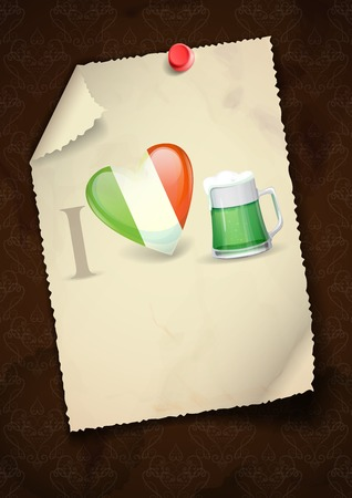 Greeting Card Design, Template. St. Patricks Day. I Love Beer. photo