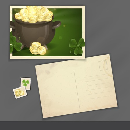 Old Postcard Design, Template. St. Patricks Day. Pot Of Gold. photo