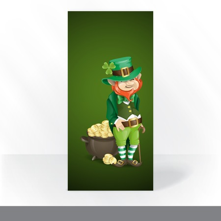 Party Invitation Card Design, Template. St. Patricks Day. Leprechaun With Pot Of Gold. photo