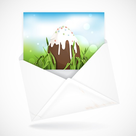 Postal Envelopes With Greeting Card. Chocolate Easter Egg. photo