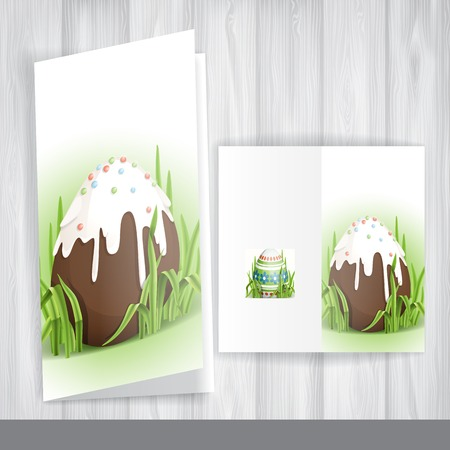 Greeting Card Design, Template. Chocolate Easter Egg. photo