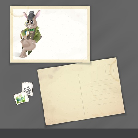 Old Postcard Design, Template. Easter Background With Bunny. photo