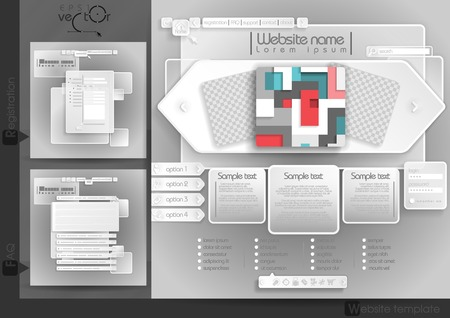 Website Design Template Menu Elements With FAQ And Registration. Vector Illustration.