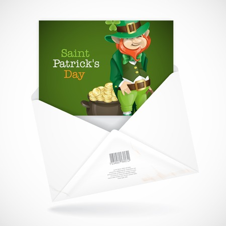 Postal Envelopes With Greeting Card. St. Patricks Day. Leprechaun With Pot Of Gold.  Vector