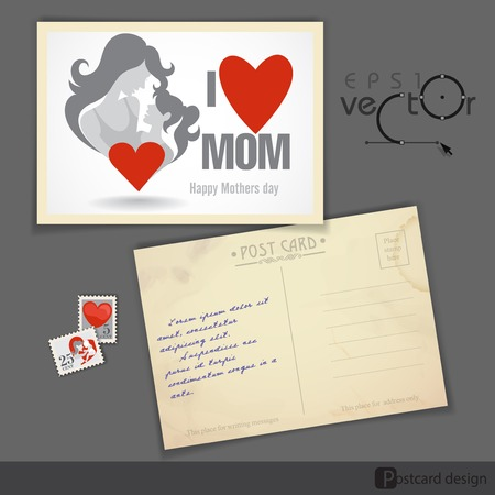 old postcard: Old Postcard Design, Template. Happy Mothers Day.
