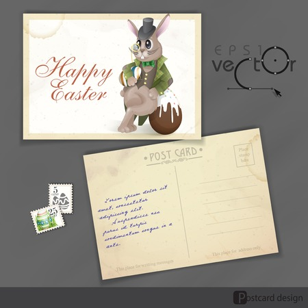 Old Postcard Design, Template. Easter Bunny With Chocolate Egg.  Vector