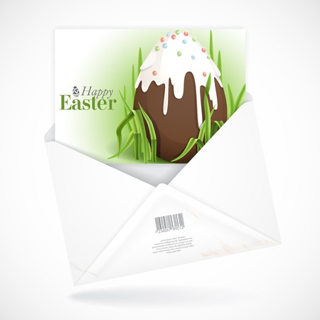 Postal Envelopes With Greeting Card. Chocolate Easter Egg. Vector Illustration. Eps 10. Vector