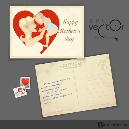 old postcard: Old Postcard Design, Template. Happy Mothers Day. Vector Illustration. Eps 10. Illustration