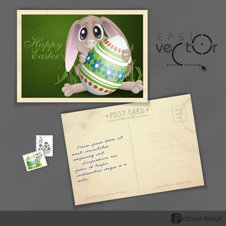 old postcard: Old Postcard Design, Template. Easter Bunny With Colorful Egg.  Illustration