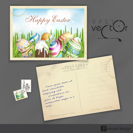 old postcard: Old Postcard Design, Template. Easter Background With Eggs In Grass.