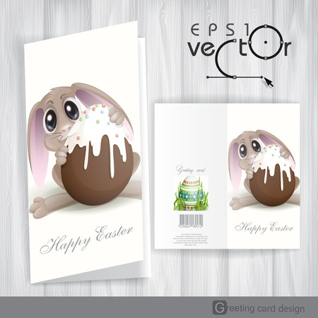 Greeting Card Design, Template. Easter Bunny With Chocolate Egg. Vector