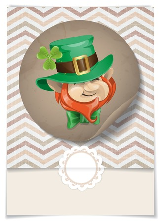 St Patrick's Day Leprechaun Face. Greeting Card Design, Template. . photo