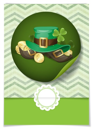 St. Patricks Day Background With Leprechaun Hat And Clover. Greeting Card Design, Template. photo