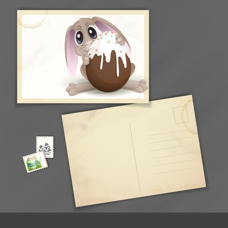 Old Postcard Design, Template. Easter Bunny With Chocolate Egg. photo