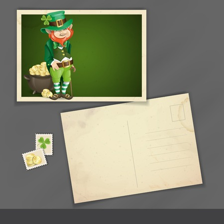 Old Postcard Design, Template. St. Patricks Day. Leprechaun With Pot Of Gold. photo