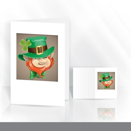 St Patricks Day Leprechaun Face. Greeting Card Design, Template. photo