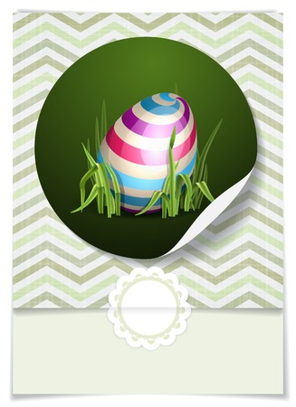 Greeting Card Design, Template. Easter Background With Eggs In Grass. photo