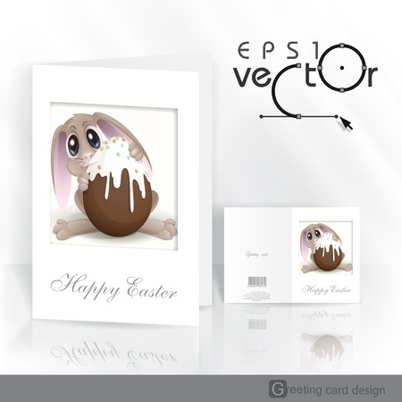 Greeting Card Design, Template. Easter Bunny With Chocolate Egg. Vector Illustration. Vector