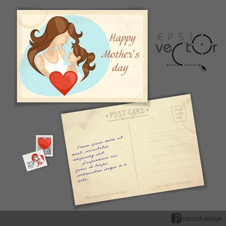 old postcard: Old Postcard Design, Template. Happy Mothers Day. Vector Illustration.