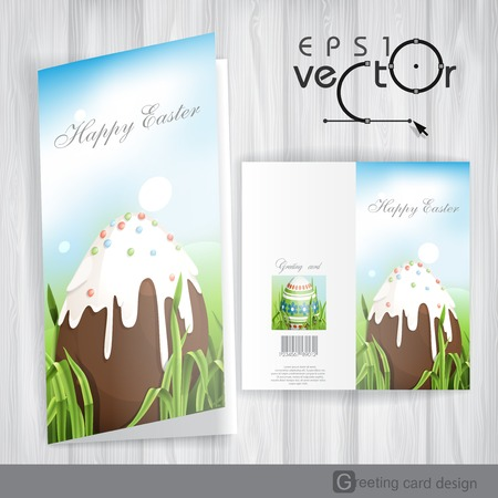 Greeting Card Design, Template. Chocolate Easter Egg. Vector Illustration.  Vector