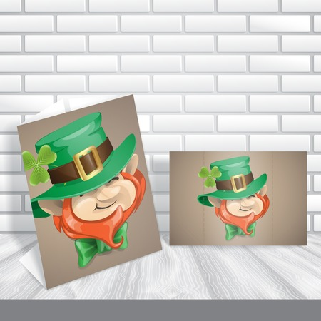 St Patrick's Day Leprechaun Face. Greeting Card Design, Template. photo